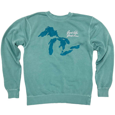 "Mint colored sweatshirt with an image of the shape of the Great Lakes screen printed in turquoise plus a white left chest embroidery ""Great Lakes Great Times"" in script."