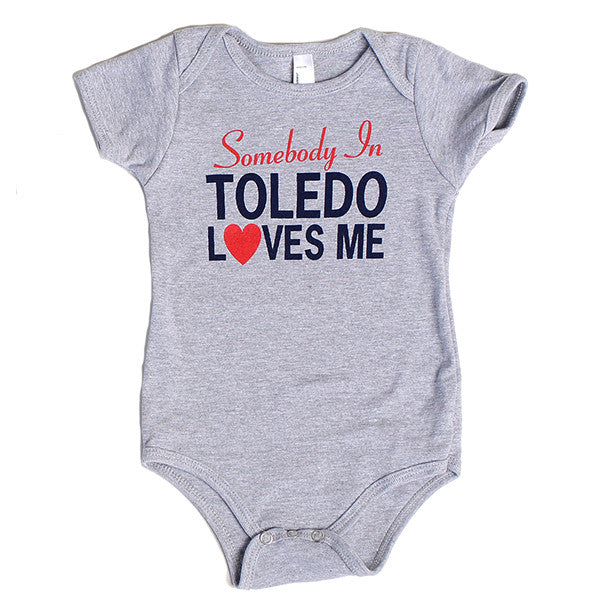 Somebody In Toledo Loves Me Onesie (Red and Blue)