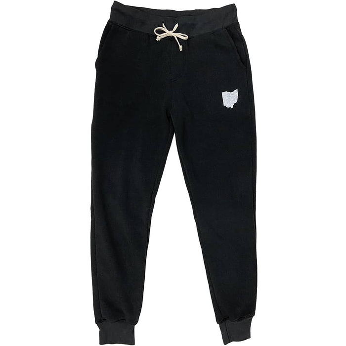 Black jogger style sweatpants with cream drawstrings and a white Ohio icon on left leg below pocket.