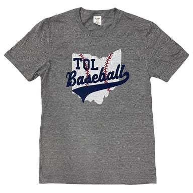 Gray short sleeve shirt with TOL Baseball in navy in center chest overtop of an Ohio shaped baseball
