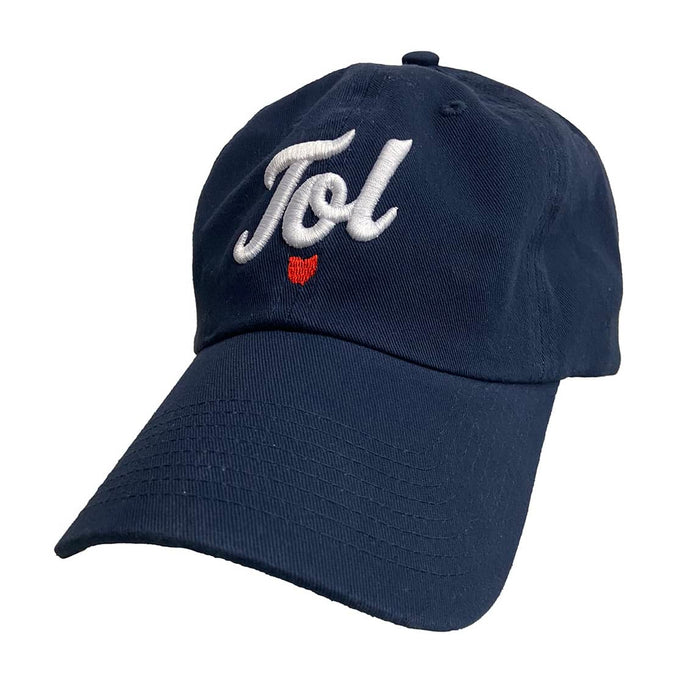"Navy baseball cap with ""Tol"" in cursive in white embroidery with an Ohio icon beneath it with red embroidery."