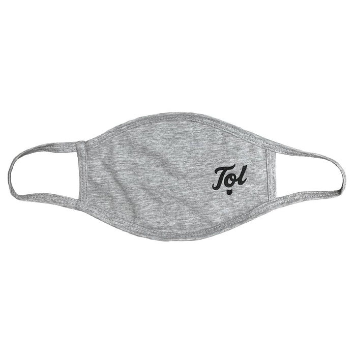 Gray heather cloth face mask with design on left side reading TOL in cursive with a small state of Ohio icon beneath it, all in black ink.