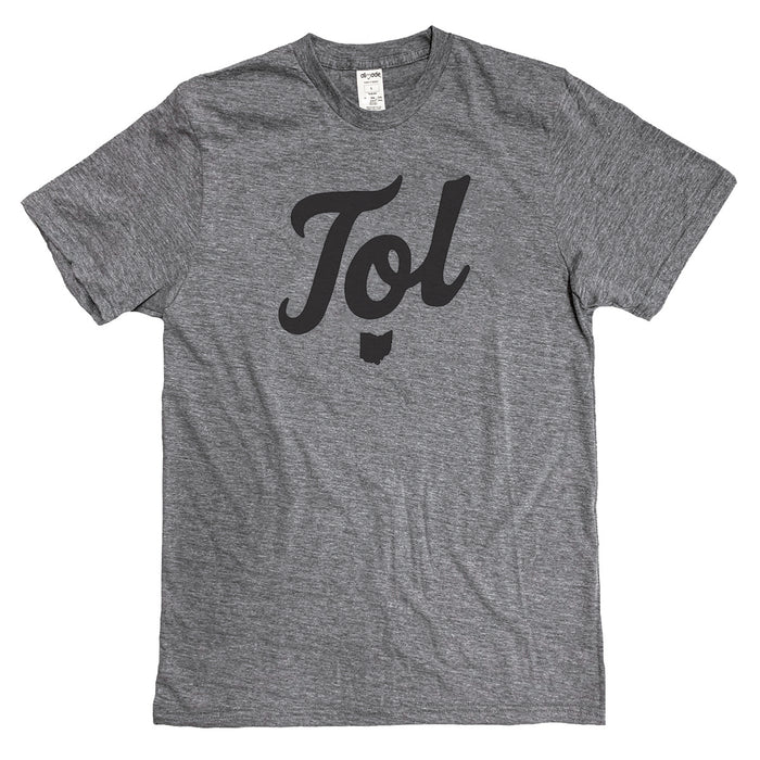 "Short sleeved heather gray t-shirt with a ""Tol"" bold script design in center in black ink with small Ohio icon beneath."