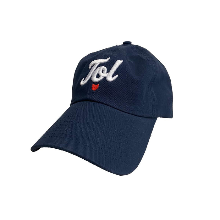 "Youth sized navy baseball cap with ""Tol"" in cursive in white embroidery with an Ohio icon beneath it with red embroidery."