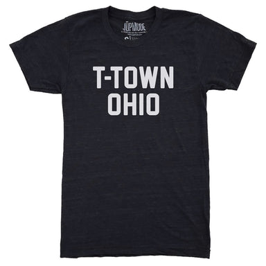 Short sleeved tri-black t-shirt with bold, white T-Town Ohio all caps print in center chest.