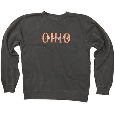 Faded black crew neck sweatshirt with Ohio in coral ink and The Buckeye State embroidered overtop in cream thread.