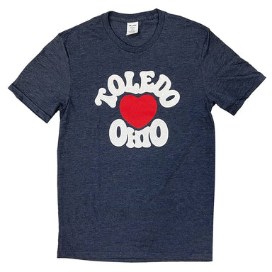 Short sleeved heather navy t-shirt with a red heart in the center chest surrounded by the words Toledo Ohio around the outside of the heart in white ink.