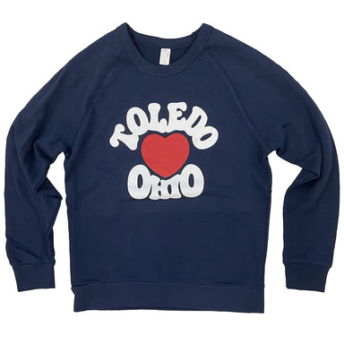 Navy long sleeved sweatshirt with red heart in center chest surrounded by Toledo Ohio text around the heart in white ink.