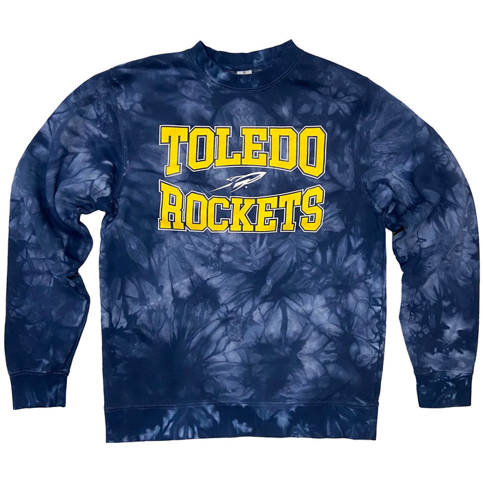 Navy tie dyed sweatshirt with Toledo Rockets in yellow with a white outline with a Rocket logo in white