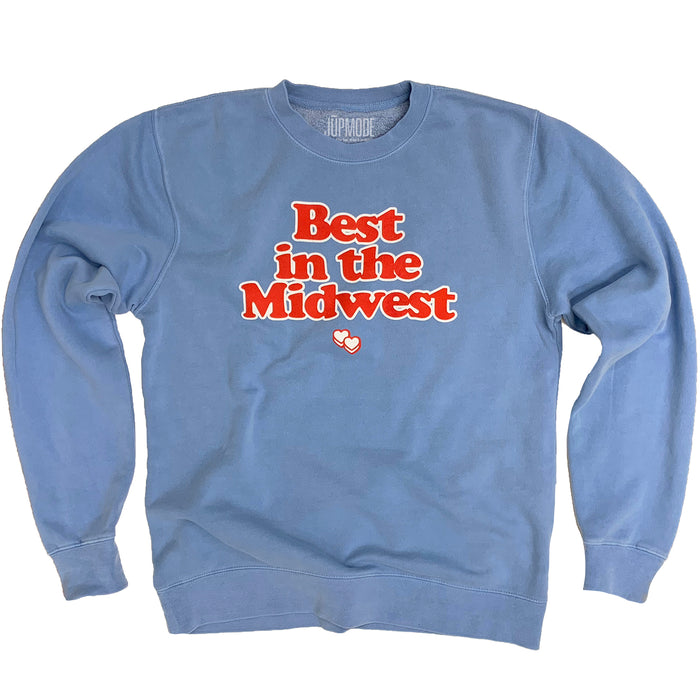 Best in the Midwest Light Blue Pigment Dyed Sweatshirt - Jupmode