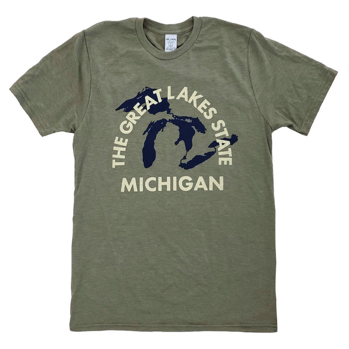 Olive green tri-blend shirt with navy filled silhouette of the great lakes, and cream colored The Great Lakes State arched type and Michigan type below.