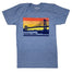 Heather light blue t-shirt with rectangular design on chest featuring a layered block sunset and a navy blue high level bridge scene in foreground. Toledo, Ohio type along bottom.