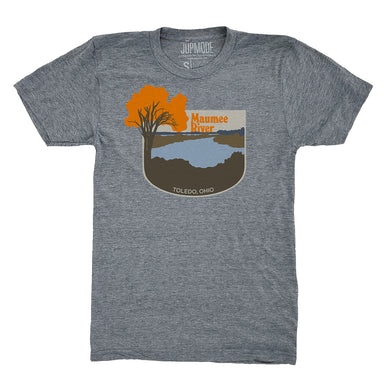 Gray short sleeved t-shirt with Maumee River overlook scene, featuring the words Maumee River and Toledo, Ohio alongside a bright orange tree and the Maumee River and its banks