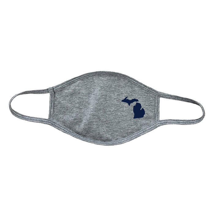 Gray tri-blend mask with a small navy blue icon of the state of Michigan.