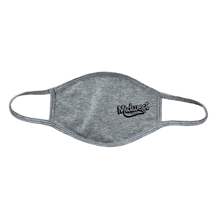 Gray tri-blend cloth face mask with a black imprint that reads Midwest is Best with Midwest in a large, shadowed script.