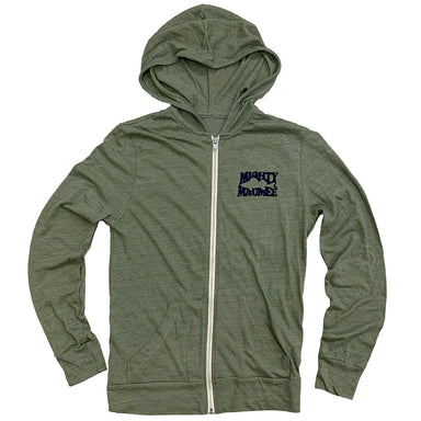 Long sleeved, zip-up hoodie in light green with cream colored zipper, small Mighty Maumee navy print on left chest forming shape of a walleye.