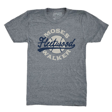 Gray short sleeved shirt with Moses Fleetwood Walker baseball design in cream & navy ink in center chest.