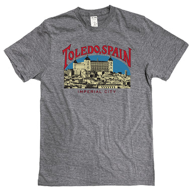 Heather gray short sleeve t-shirt with red Toledo, Spain type arched over an illustration of the city in pale yellow with black outlines and a blue sky behind. Imperial City is written beneath the illustration.