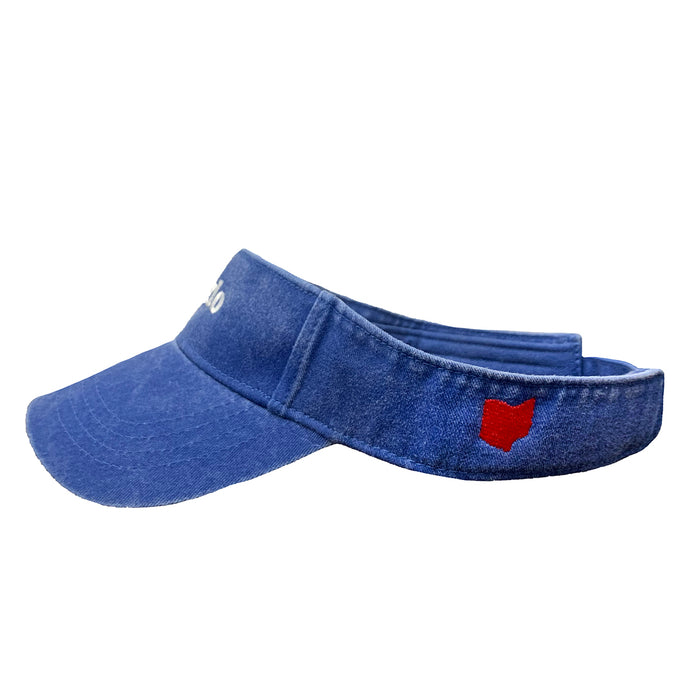 Side view of blue visor with white embroidered Toledo in center with red embroidered Ohio icon on side