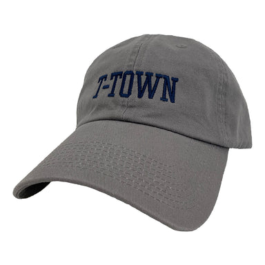 "Dark gray baseball cap with navy embroidered ""T-town"" in center"
