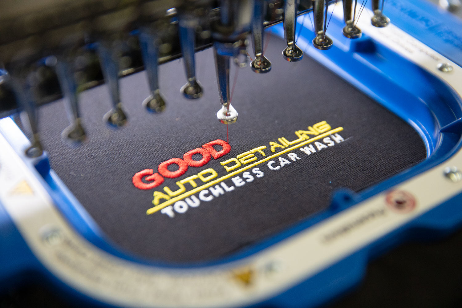 good guys polo on the embroidery machine