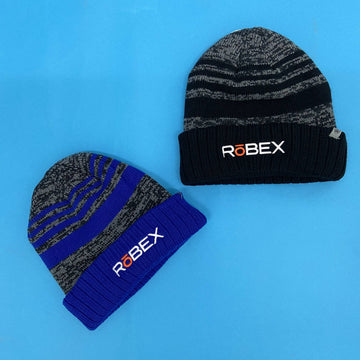 knit winter beanies that say RoBEX