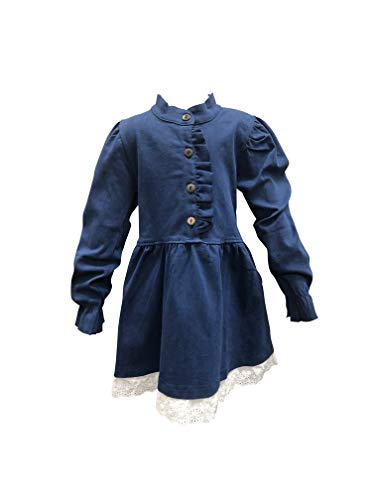 Nickanny's Big Girls Long Sleeve Ruffled Dark Blue Stretchy Denim Dress