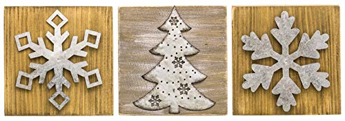 Winter Holiday Wall Decoration Plaques Tree Snowflakes Wood and Metal Signs
