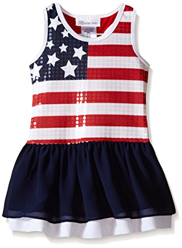 Bonnie Jean Little Girls' Sequined Flag Drop Waist Dress, Navy, 6X