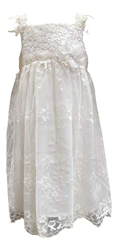 Bonnie Jean Vintage White Sleeveless A-line Girls Lace Dress