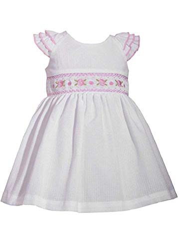Bonnie Jean Infant/Toddlers White Seersucker Lined Sundress with Eyelet Sleeves