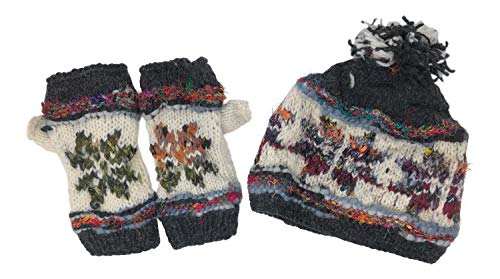 Snowflake Fair Isle Insulated Fleece Lined Hand Knit Hat and Fingerless Gloves