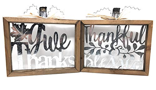 Tabletop Blessed Give Thanks Cut Out Metal Wood Framed Hanging Signs Design