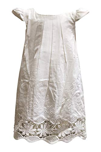 Girls Vintage White Boho Cotton Sundress with Cap Sleeve Lace Eyelet Hem