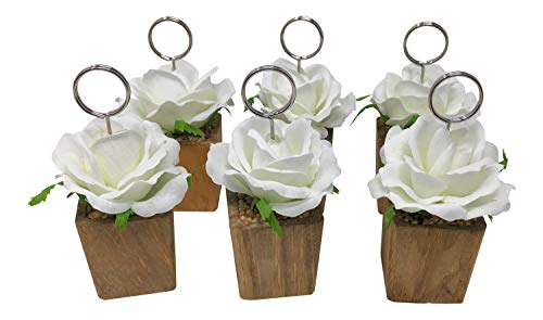 White Rose with Wooden Base Table Numbers Wire Holder Place Card Stand