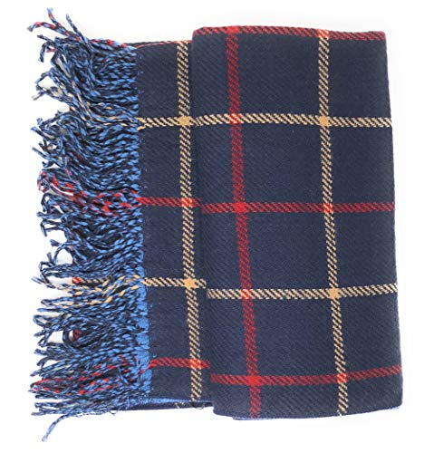 Women's Plaid Reversible To Solid Soft Stylish Scarf Gift Bag 69 in by 26 in