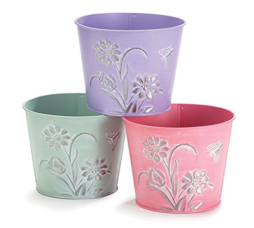 6 SPRING EMBOSSED FLOWERS TIN POT COVER