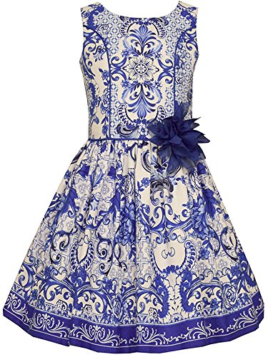 Tween Girls 7-16 Blue/White Moroccan Print Cotton A-Line Social Dress