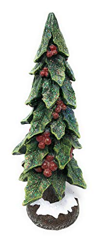 12 in Tall Resin Forest Holiday Christmas Tree with Berries Decor Figurine