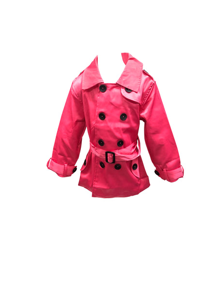 Girls Chic Professional Hot Pink Lightweight Double Breasted Trench Coat