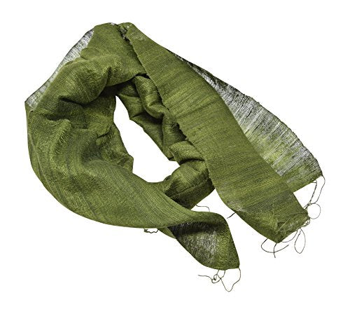 Annys Mens Raw Silk Lightweight Neck Scarf One Size with Gift Bag (Olive Green)