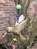 The Hummingbird In Flight With Beads 15 In Long Wind Chime Iron and Glass