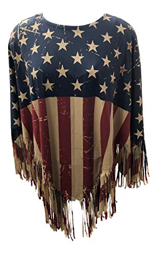 American Flag Poncho Pullover Topper Jacket Ruana with Fringe Lightweight