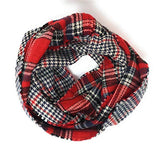 Women's Plaid Reversible Wool Feel Circle Infinity Scarf with Gift Bag