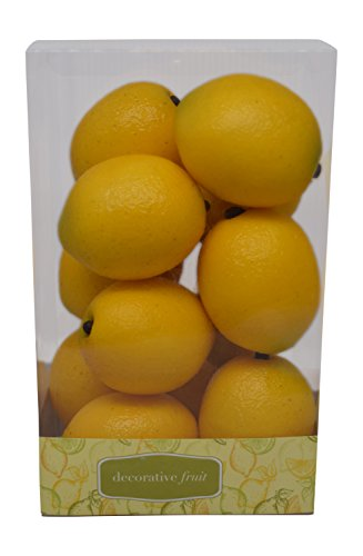 Florabunda 12-Piece Mini Decorative Fruit, Yellow Lemon