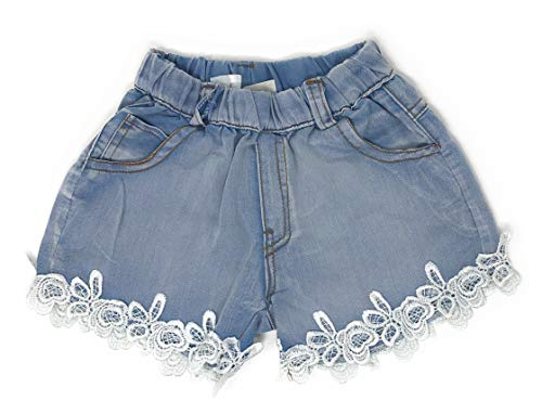 Light Blue Hipster Denim Shorts with Embroidered White Lace Ruffle Accent