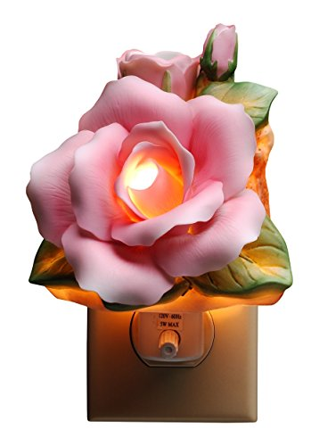 4.13 Inch Painted Pink Rose with Green Leaves Wall Plug-in Light