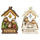 Guiding Star Peace Manger Cream 7 x 5 Resin Stone Christmas Figurines Set of 2
