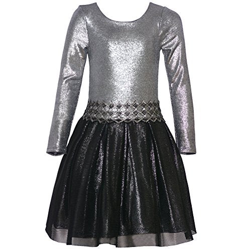 Bonnie Jean Big Girls Silver Glitter Texture Waistband Christmas Dress 12