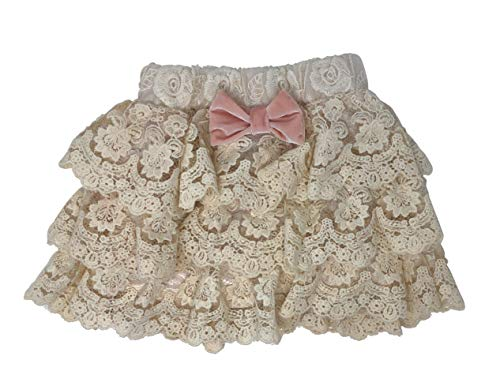 Girls Chic Rustic Ivory Antique Layered Floral Crochet Lace Skirt Elastic Waist
